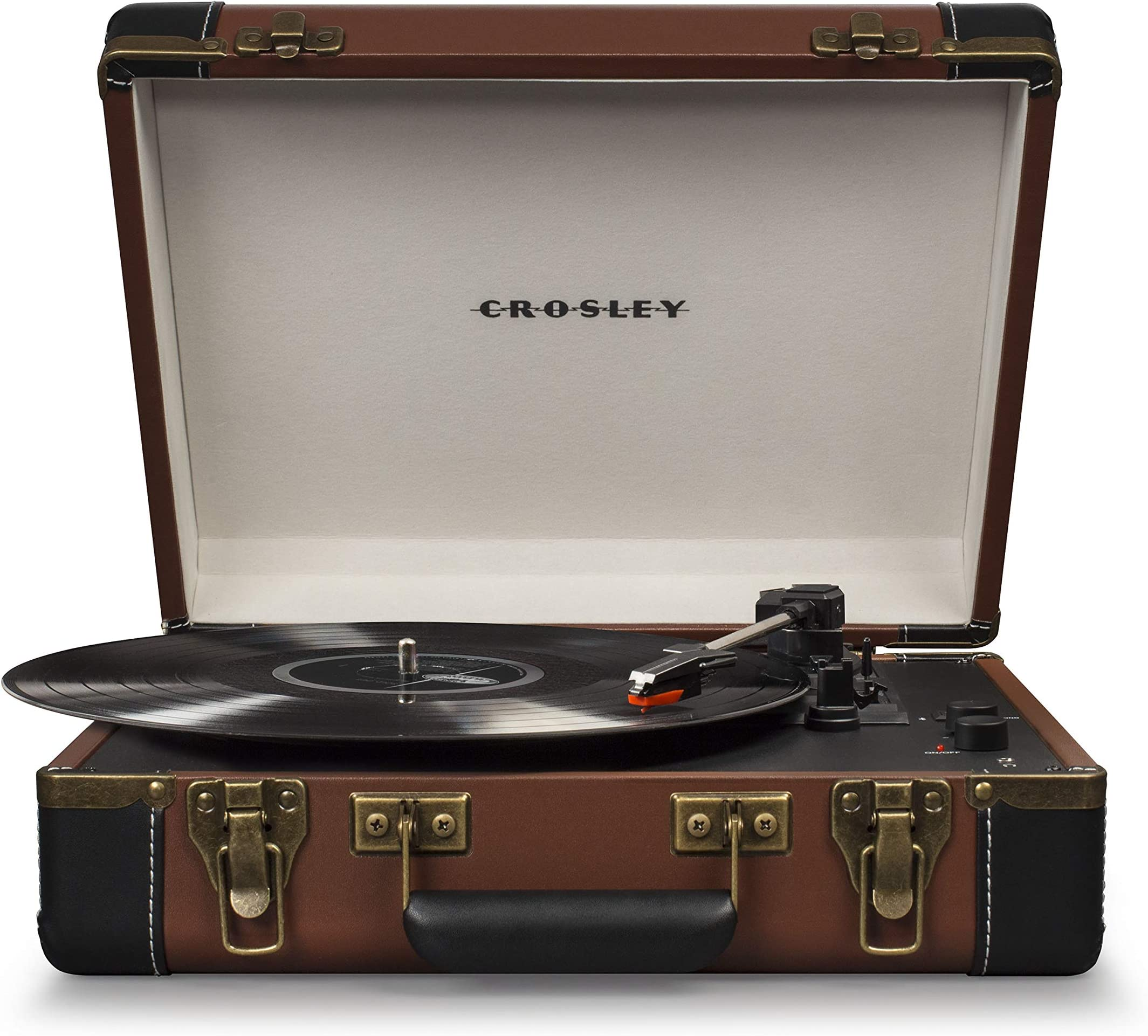 Crosley CR6019D-BR Executive Portable USB Turntable with Bluetooth, Brown