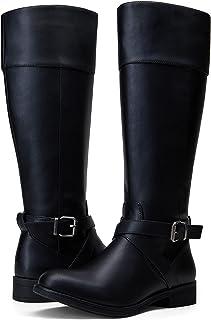 VEPOSE المرأة منخفضة الكعب الركبة أحذية عالية المعادن مشبك سحاب مريح للنساء
