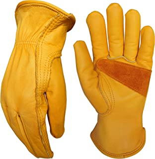 Leather Work Gloves for Gardening/Cutting/Construction/Motorcycle/Farm, Men & Women, Cowhide Work Gloves (Medium)