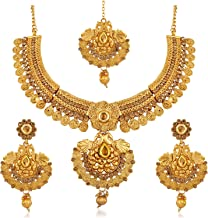 Apara Gold Plated Traditional Necklace Set with Earring and Maangtikka for Women