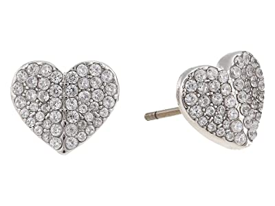 Kate Spade New York Heart To Heart Pave Small Heart Studs Earrings (Clear/Silver) Earring