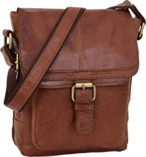 Mens Classic Leather Cross Body Organiser Bag Flight Pouch Oldenburg Tan