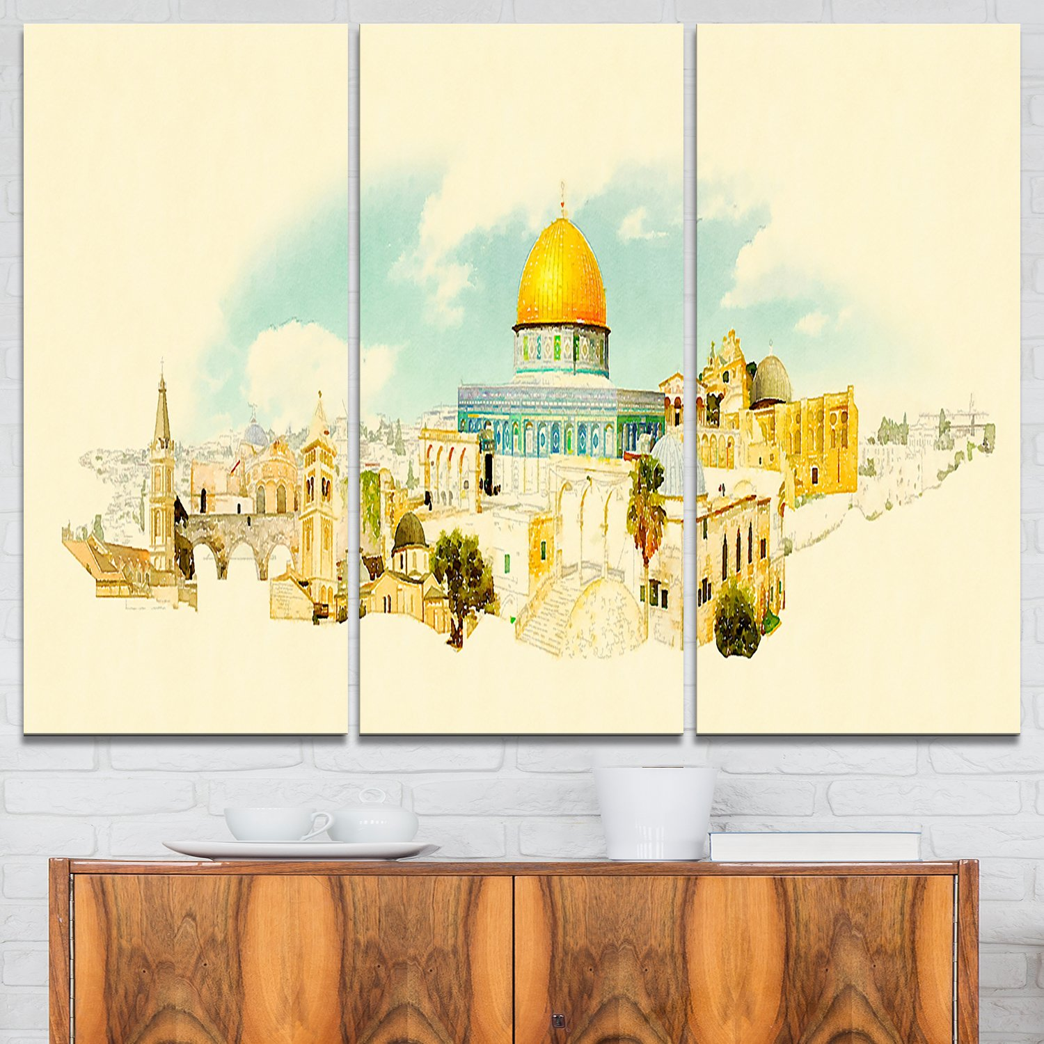 Designart Jerusalem Panoramic View Cityscape Watercolor Canvas Print 36x28 3 Panels Beige Gold Buy Online At Best Price In Uae Amazon Ae
