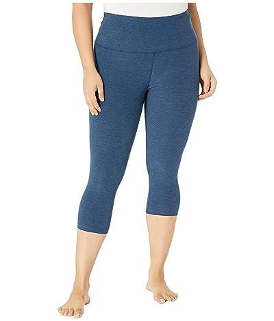 Beyond Yoga Plus Size Spacedye High-Waist Capris (Insignia Navy) Women