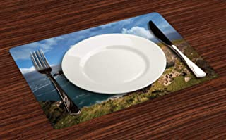 Lunarable English Countryside Place Mats Set of 4, Pattern of Panoramic Landscape Photo Rocky Formations Outdoor Scene, Washable Fabric Placemats for Dining Table, Standard Size, Multicolor