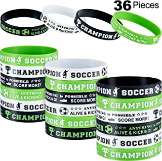 Hicarer Soccer Silicone Wristbands Soccer Theme Rubber Wristbands Soccer Bracelet Wristbands for Soccer Themed Birthday School Gifts Party Favors (36 Pieces)
