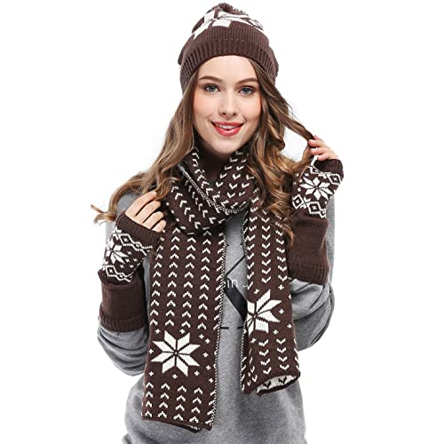 fbd28ffe379d Bienvenu Women Snowflake Hat Gloves and Scarf Winter Set