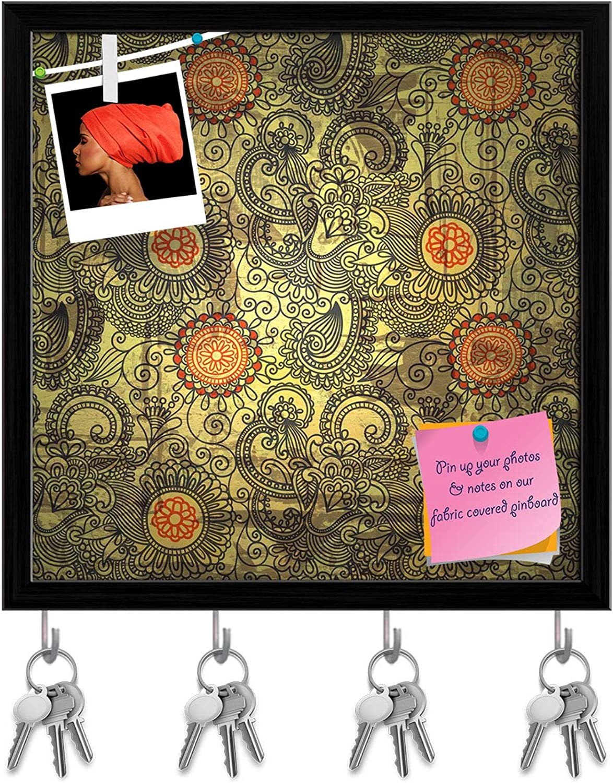 Artzfolio Flower Paisley Design D2 Key Holder Hooks   Notice Pin Board   Black Frame 20 X 20Inch