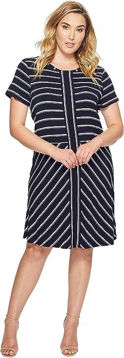 Plus Size Short Sleeve Striped T-Shirt Dress
