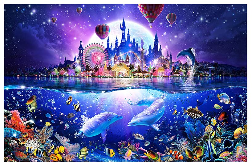 Twuky DIY 5D Diamond Painting by Number Kits, Crystal Rhinestone Diamond Embroidery Paintings Pictures Arts Craft for Home Wall Decor, Full Drill,Sea Paradise(35X45CM/14X18inch)
