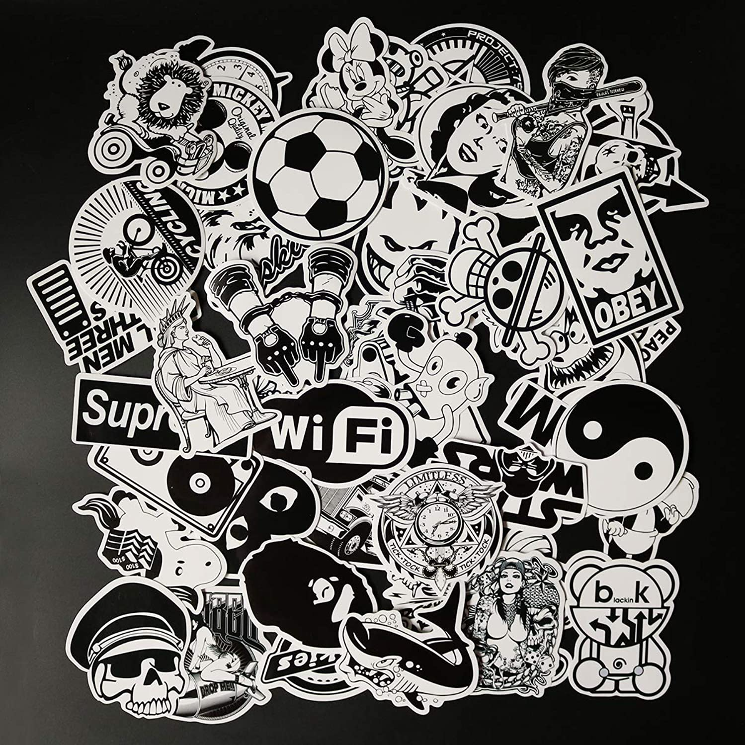 Cute Cartoon Black and White Laptop Stickers Car Skateboard Motorcycle Bicycle Luggage Guitar Bike Decal 50pcs Pack