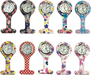 Women Square Silicone Quartz Nurse Watch Lapel Hanging Fob Watch