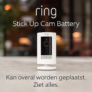 Ring Stick Up Cam Battery van Amazon, HD-beveiligingscamera met tweeweg-audio | Inclusief proefabonnement van 30 dagen op Ring Protect Plus | Wit