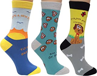 New Day, Too Early, Sht Just Got Real Cute, Anydaze Women's Combed Cotton & smooth toe Crew Socks (3 Pack)