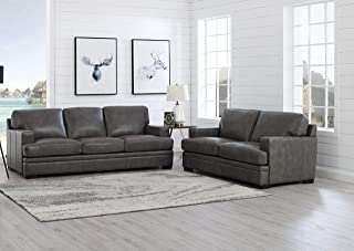 Hydeline Georgia 100% Leather Set, Sofa and Loveseat, Gray