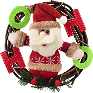 Grapevine Wreath, Merry Christmas Wreath with Reindeer Snowman Santa Claus Front Door Wreaths for Home Kitchen Wall Window Hall Decor (Color 1)