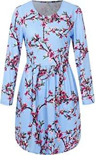 HONGXI Women's Long Sleeve Floral Casual Swing Pleated T-Shirt Dress