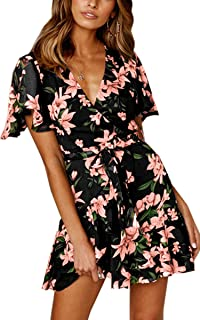 Women's Floral Short Sleeve Wrap V Neck Ruffle Mini Dress with Belt