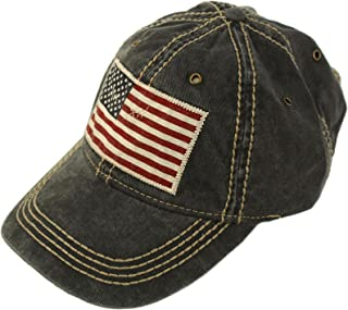 Epoch Unisex Washed Cotton Vintage USA Flag Low Profile Summer Baseball Cap Hat