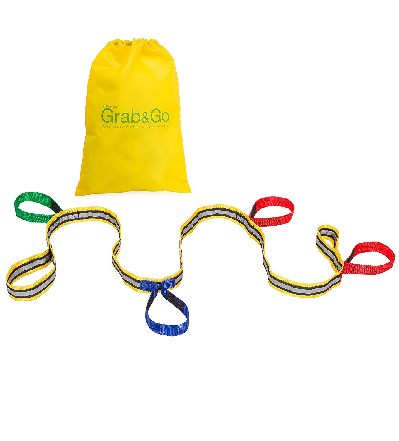 Childrens Walking Rope (4 Child) - Premium Quality, Teacher Designed, Extra Safety Feature on Handles. Hi Viz Detail for Best Visibility. Includes Free Learning Games for Walks Guide