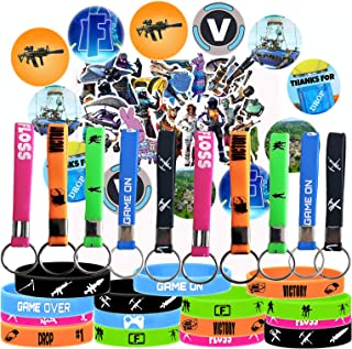 Game Party Supplies, 67 Pack Gaming Set Party Favors - 15 Pack Bracelet, 12 Pack Button Pins, Set of 40 Stickers for Kids