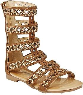 b65ac0e5d3a Link Girls Fashion Kid s Knee High Flat Greek Roman Shoes Gladiator Thong  Sandals