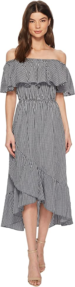 American Rose Ann Off the Shoulder Gingham Maxi Dress