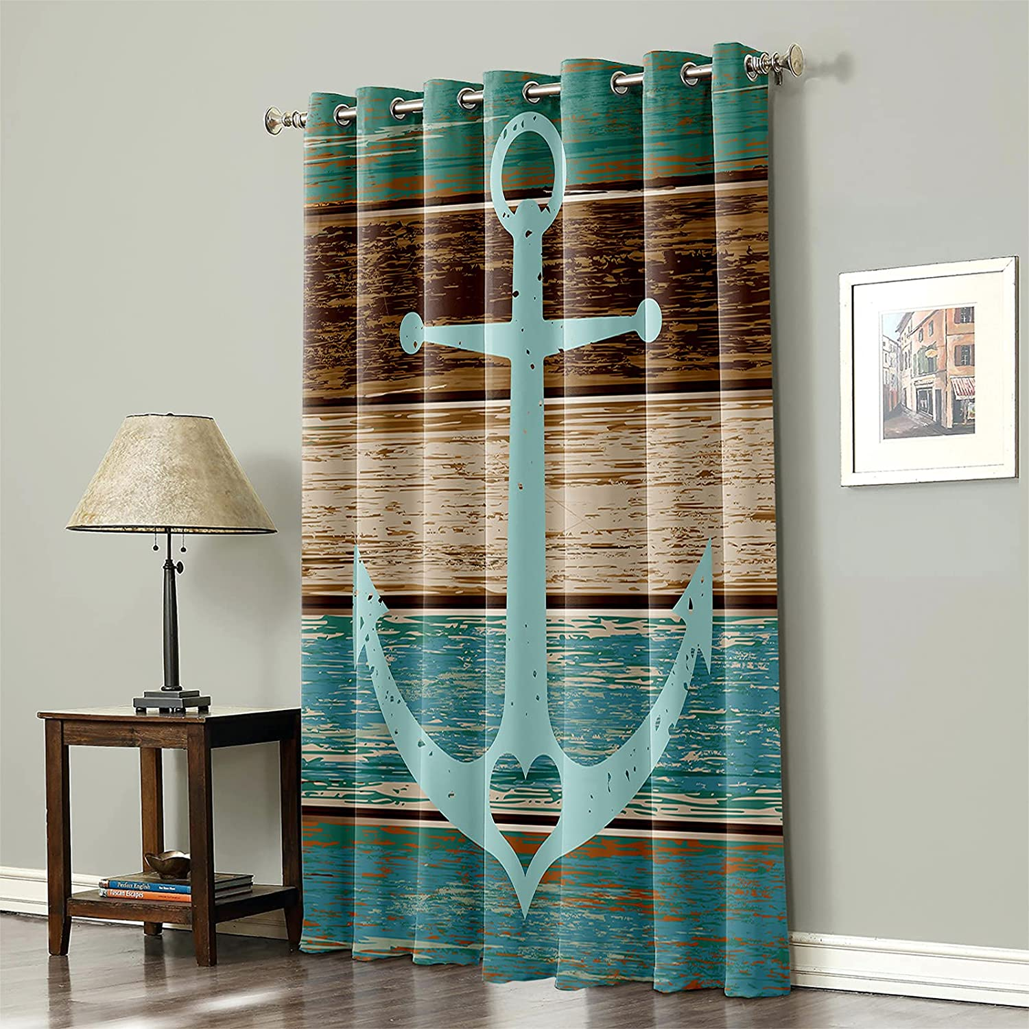 Blackout Be super welcome Curtain for Bedroom A surprise price is realized Ocean Anchor Theme Marine Turqu on