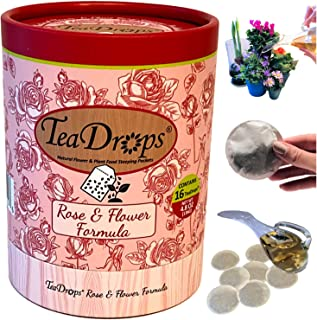 TeaDrops Organic Rose & Flower Fertilizer – 16 Liquid Plant Food Packets – Make up to 32 Gallons (Easy, No Urea, Ecofriendly)