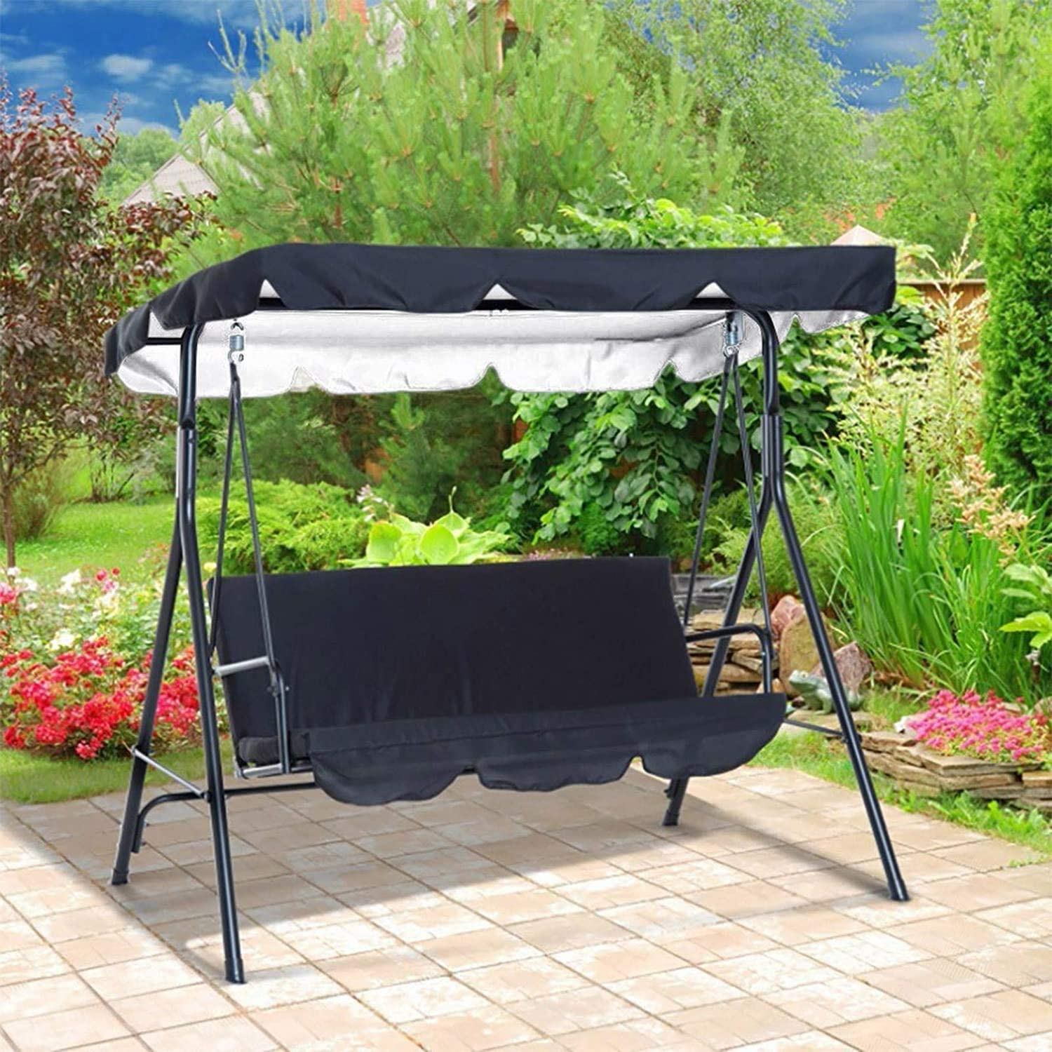 Beige, 56x47x7 Patio Swing Canopy Waterproof Top Cover Set-Replacement Canopy Cover for 2//3-Seater-Swing Chair Awning Glider Swing Cover for Garden//Patio//Poolside//Balcony Swing Chairs