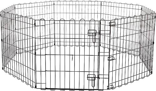 AmazonBasics Foldable Metal Pet Dog Exercise Fence Pen With Gate - 60 x 60 x 24 Inches