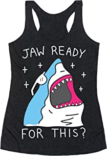 Jaw Ready for This? Shark Heathered Black Women's Racerback Tank