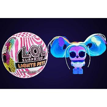 L.O.L. Surprise! Animaux de Compagnie Lights à Collectionner - avec 9 Surprises, Accessoires & des Vrais Cheveux - lumière Noire Surprises comprise