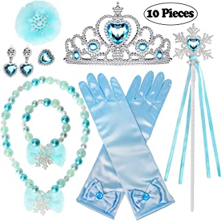 Golray 10 Pieces Princess Dress Up Accessories Princess Elsa Cinderella Little Mermaid Ariel Set for Girls with Crown Scepter Glove Necklace Bracelet Earrings Ring Hair Clip