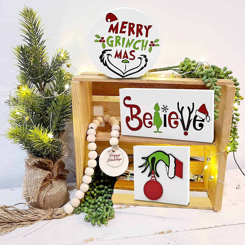 Merry Grinchmas Wood Signs, Grinch Christmas Tiered Tray Mini Blocks Mean One Farmhouse Kitchen Coffee Bar Shelf Winter Holiday Decor, 3PCS