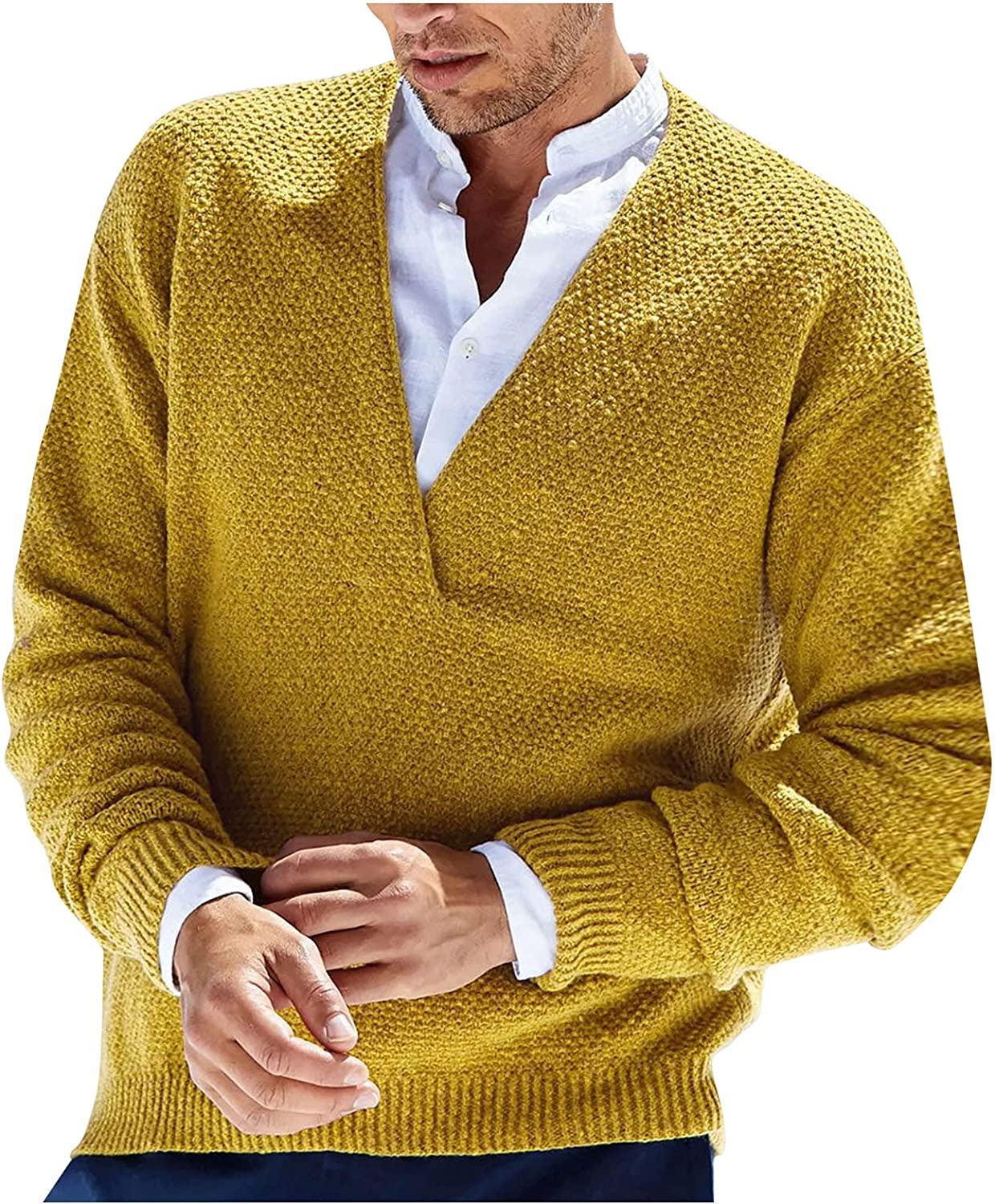 HONGJ Knit Sweater for Mens, Fall Winter V Neck Solid Long Sleeve Pullover Men's Fashion Casual Warm Basic Jumper Tops