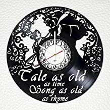 BorschToday Beauty and The Beast Handmade Vinyl Record Wall Clock - Get unique living room or nursery wall decor - Gift ideas for boys and girls – Fantasy Film Characters Unique Modern Art Design