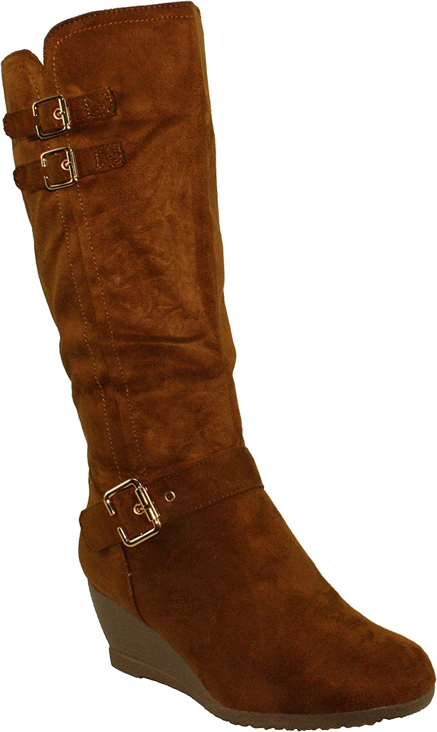 DBDK Women's Monicay-2 Faux Suede Round Toe Buckled Wedge Heel Mid-Calf Boots