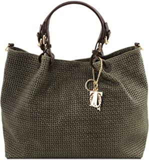 Tuscany Leather TL KeyLuck - Woven Printed Leather TL Smart Shopping Bag - Large Size - TL141568 (Forest Green)