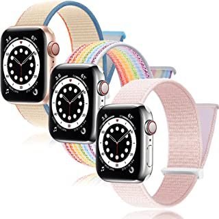 3Pack PROATL Adjustable Nylon Sport Loop Band Compatible with Apple Watch Band 38mm 40mm, Women Men Braided Weave Replacement Strap for iWatch Series 6 5 4 3 2 1 SE ( Cream/ Pearl Pink/ Rainbow)
