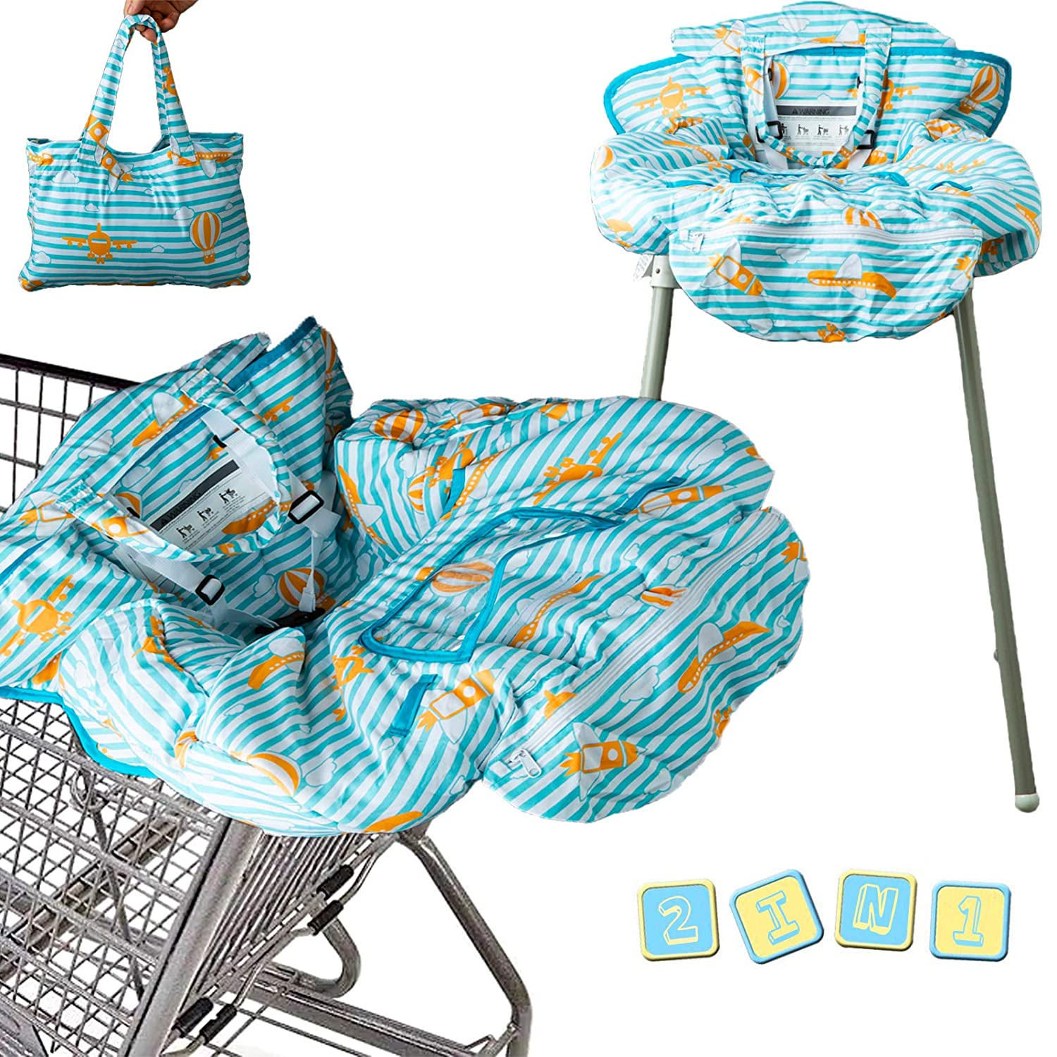 2-in-1 Baby Shopping Cart Cover | Restaurant High Chair Cover | 360 Full Protection | Machine Washable | Universal Fit | for Infant, Toddler, Girls and Boys