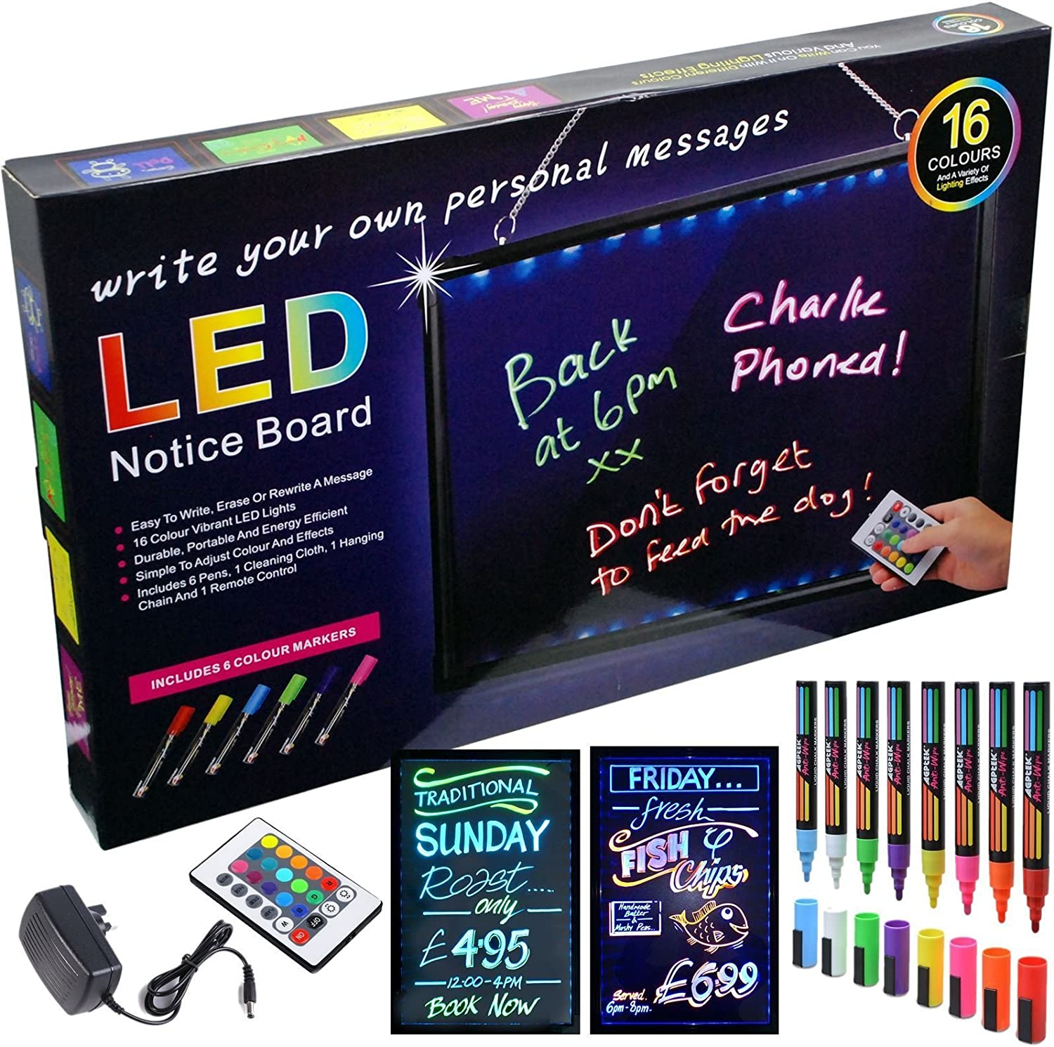 BCreative Erasable Neon LED Message Writing Board Menu Sign Home Sign Box 60CMx40CM