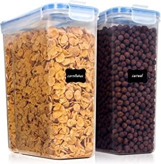Vtopmart Cereal Storage Container Set, Extra Large BPA Free Plastic Airtight Food Storage Containers 213 oz for Cereal, Snacks and Sugar, 2 Piece Set Cereal Dispensers with 24 Labels
