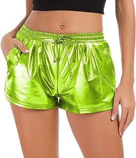 Tandisk Women's Yoga Hot Shorts Shiny Metallic Pants with...