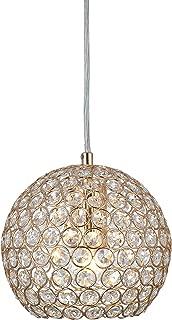Tayanuc Gold Mini Pendant Light Decorative Crystal Ceiling Pendant Lighting Cord Adjustable Crystal Chandelier, Hanging Crystal Ball Pendant Light Fixture  for Living Room Dining Room Bar Kitchen