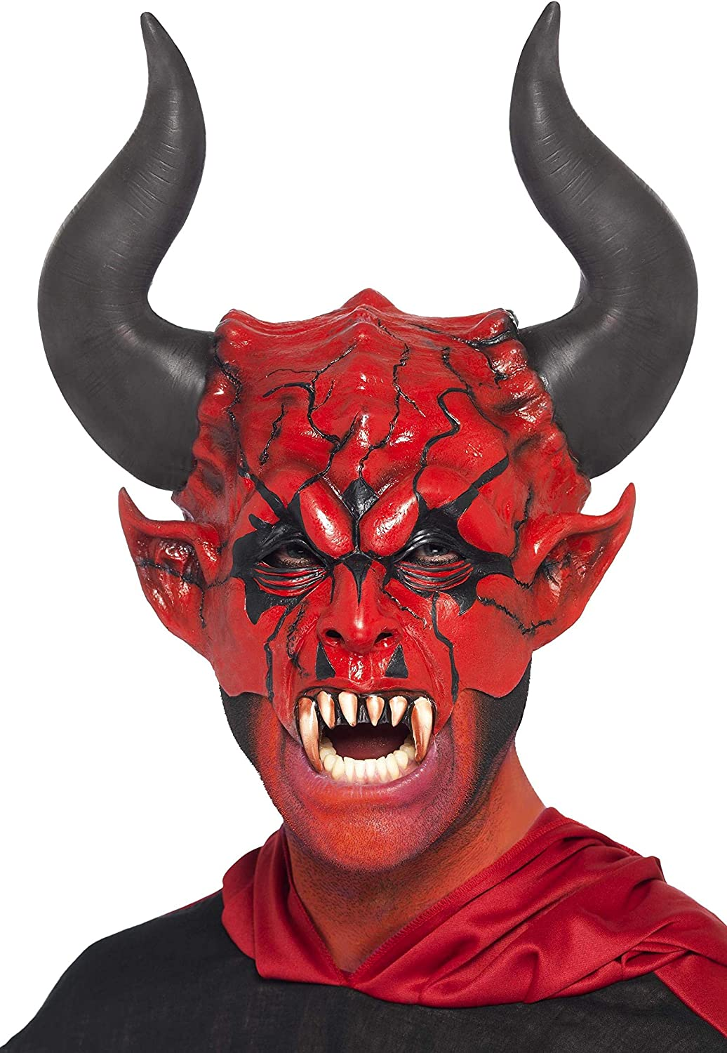 Smiffy's Unisex Devil Lord Mask, Red, Half Face, One Size, 38860