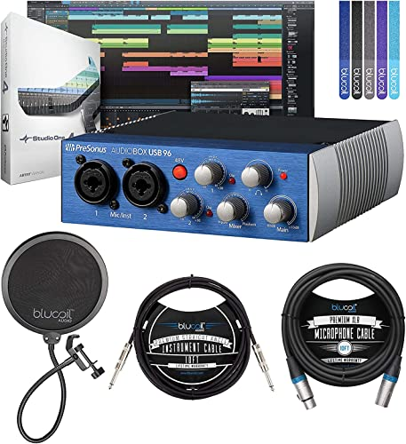 """popular PreSonus AudioBox USB 96 2x2 USB Audio Interface for Windows & Mac Bundle sale with Studio One Artist Software, Blucoil 10' XLR Cable, 10' Straight Instrument Cable outlet sale (1/4""""), Pop Filter, and 5x Cable Ties online sale"""
