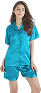 TONY AND CANDICE Women's Satin Sleepwear Short Sleeve Pajamas Set Button Down Nightwear