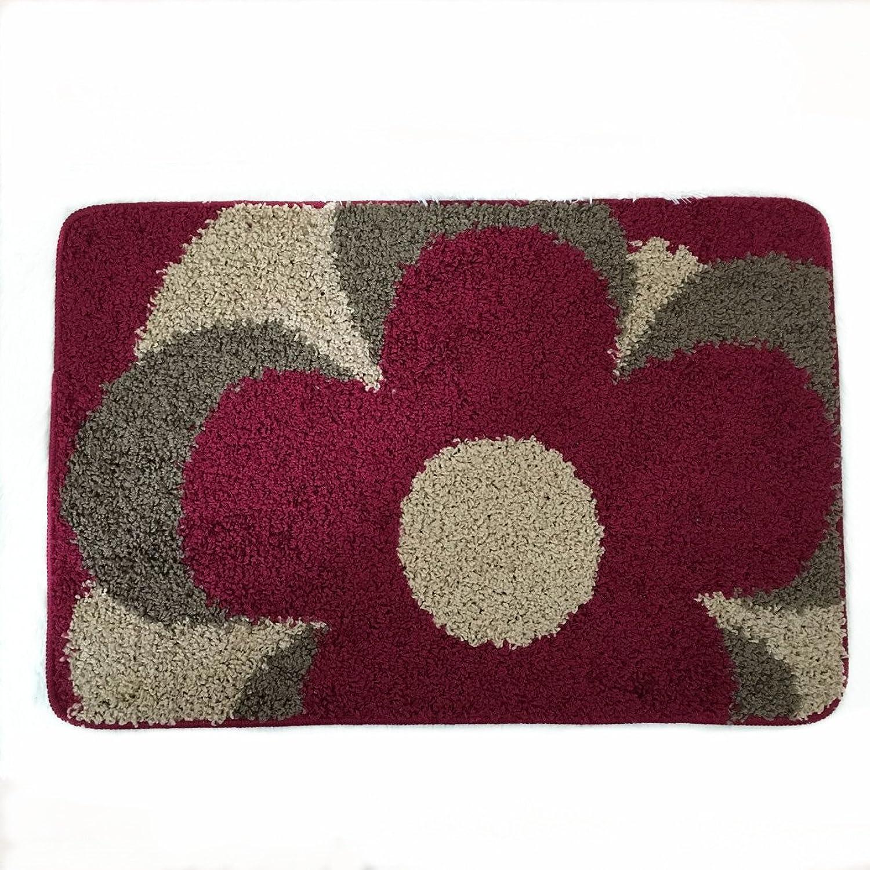 USTIDE Red and Camel color Floral Doormat Floral Rectangle Rugs Doormat for Kitchen Bedroom Hallway Foyer Outdoor Rug (2Ftx3Ft)