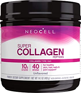 NeoCell Super Collagen Peptides Powder, 14 Ounces, Non-GMO, Grass Fed, Paleo Friendly, Gluten Free, For Hair, Skin, Nails ...